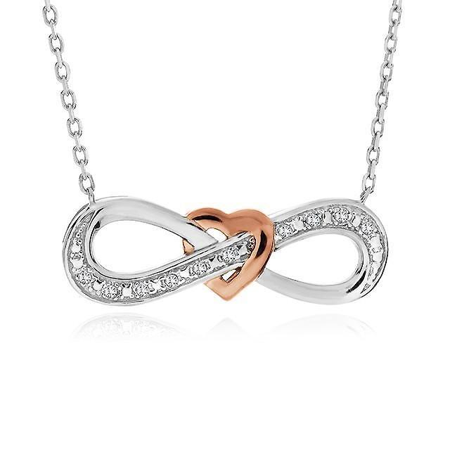 Diamond Accent Interlocking Infinity Heart Pendant in Sterling Silver with Chain