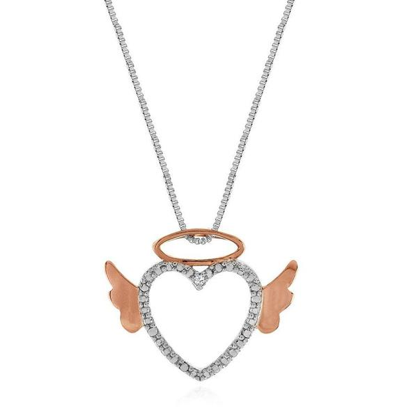 "Diamond Accented Angel Heart Pendant in Rose Gold/Sterling Silver with 18"" Chain"