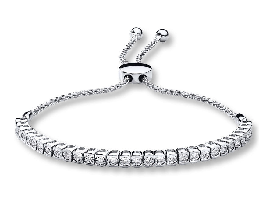 1/4 Carat Diamond Bolo Bracelet in Sterling Silver
