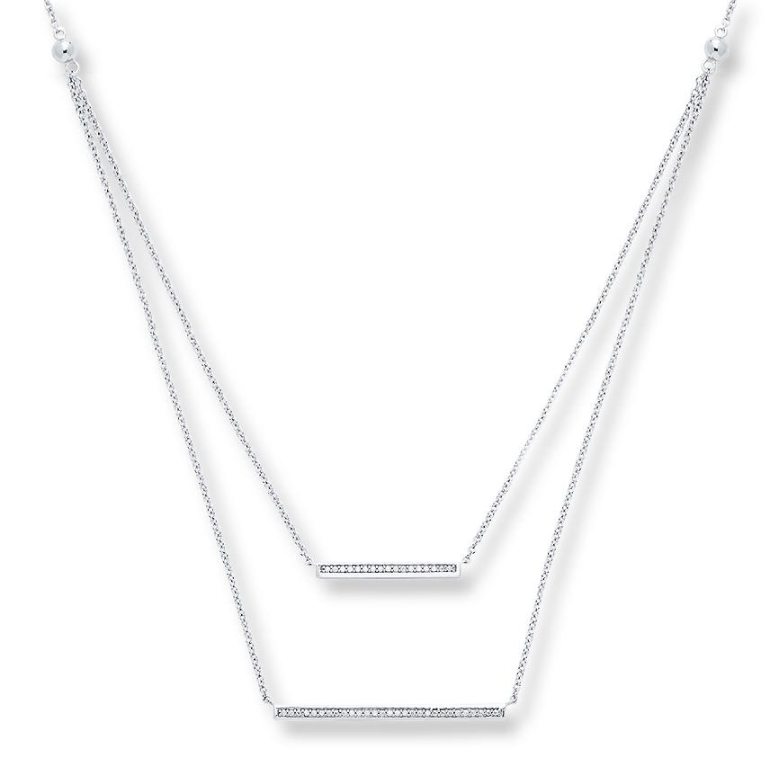 1/5 Carat Diamond Bar Necklace in Sterling Silver - 17""