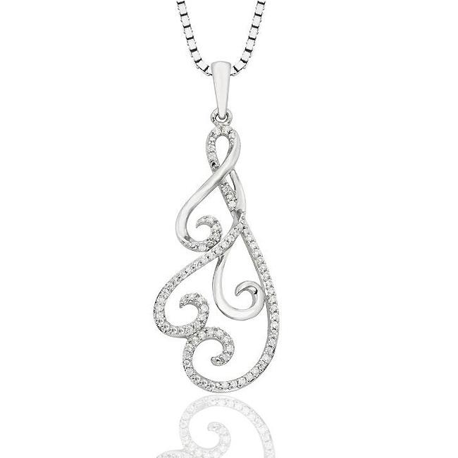 "1/6 Carat Diamond Swirl Pendant in Sterling Silver with 18"" Chain"