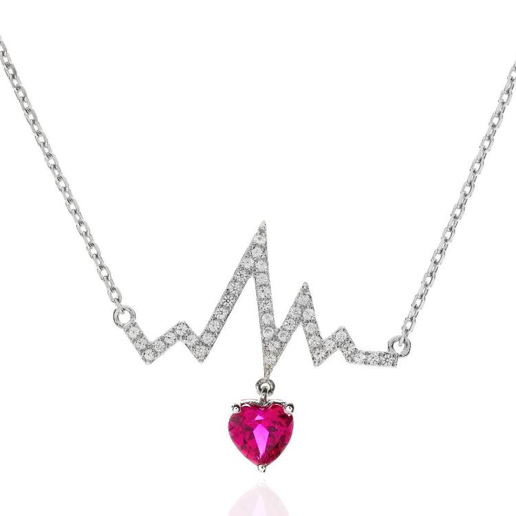 3/4 Carat Ruby & White Sapphire Rhythm & Heart Necklace in Sterling Silver - 18""