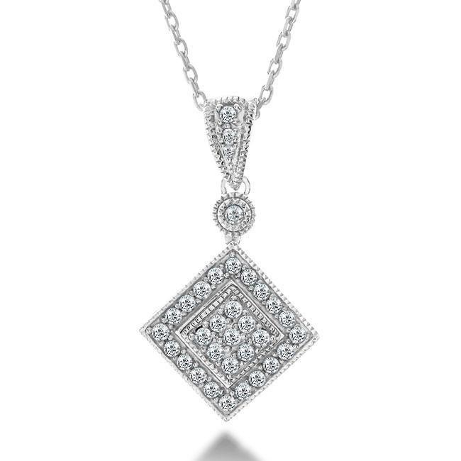 1/2 Carat Diamond Square Pendant in Sterling Silver with Chain