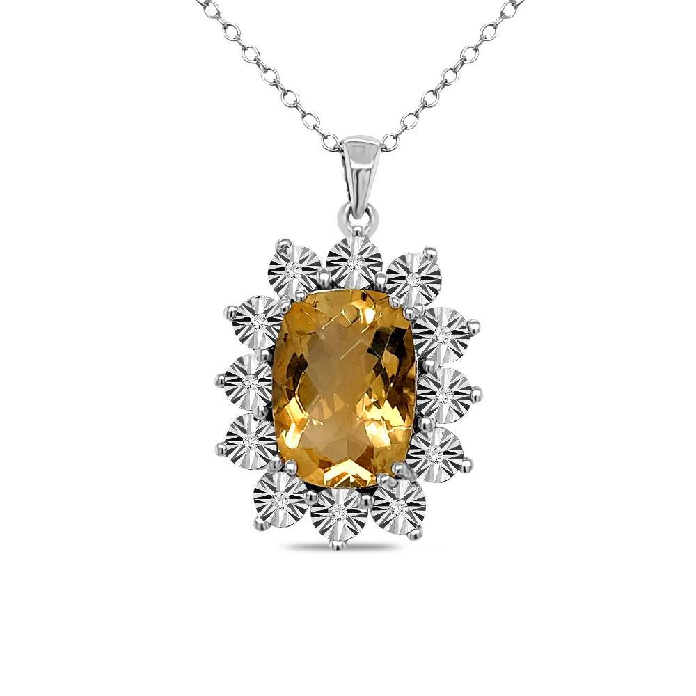 5.08 Carat Genuine Citrine & Diamond Pendant in Sterling Silver - 18
