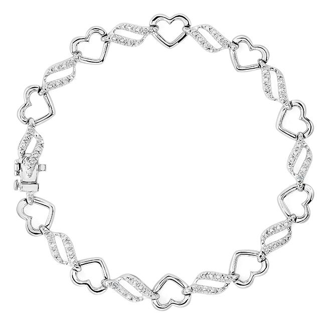 1/10 Carat Diamond Heart & Wave link Bracelet in Sterling Silver - 7.5""