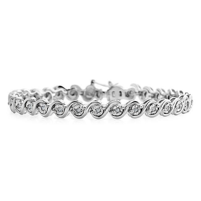 1/2 Carat Diamond Tennis Bracelet in Sterling Silver - 7.5""