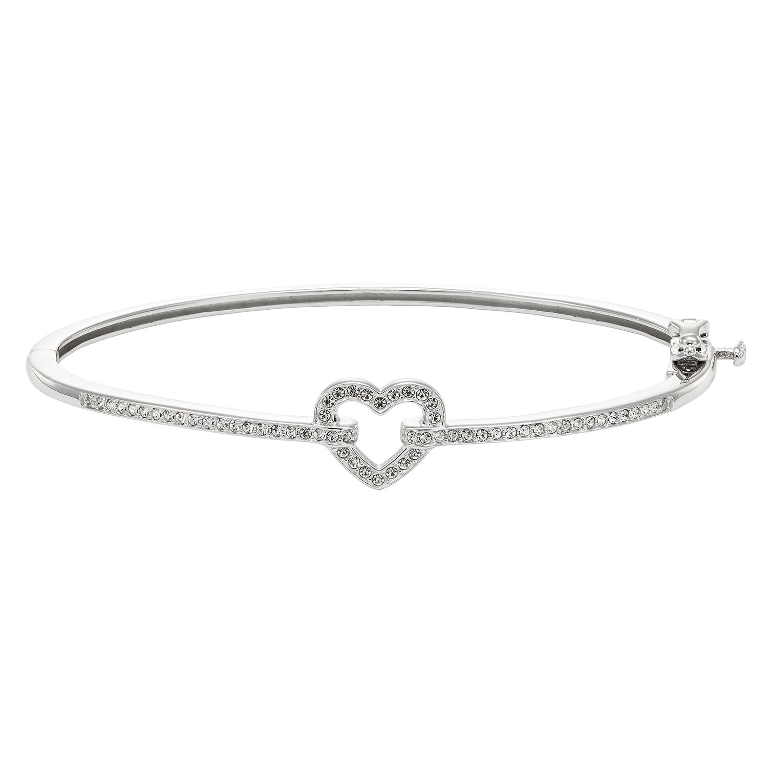 Diamond Accent & Crystal Fashion Bangle in Sterling Silver - 7.25""