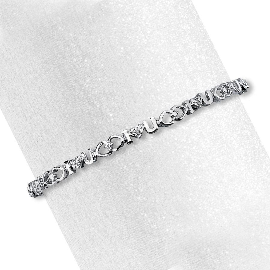 "Diamond Accent ""I Love You"" Bracelet in Sterling Silver - 7.5"""