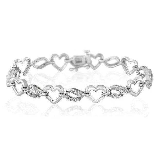 1/10 Carat Diamond Heart & Wave Link Bracelet in Sterling Silver - 7.75""