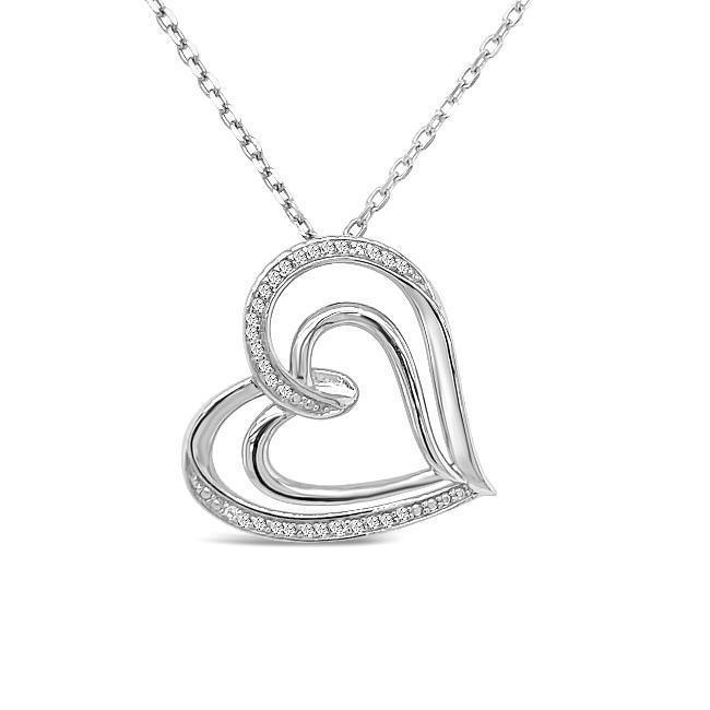 Diamond Heart Necklace in Sterling Silver - 18