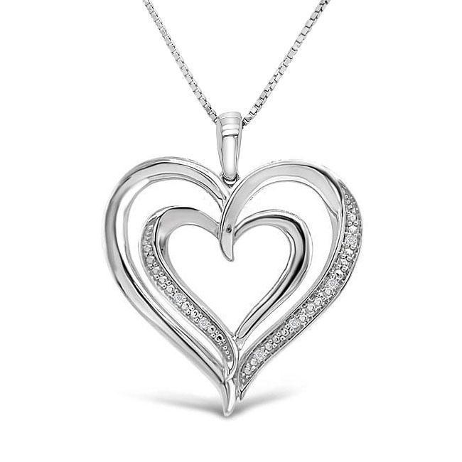 Diamond Accent Heart Pendant in Sterling Silver - 18""