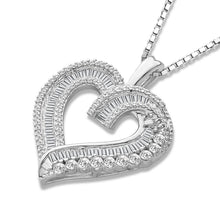 Load image into Gallery viewer, 1/2 Carat Diamond Heart Pendant in Sterling Silver - 18""
