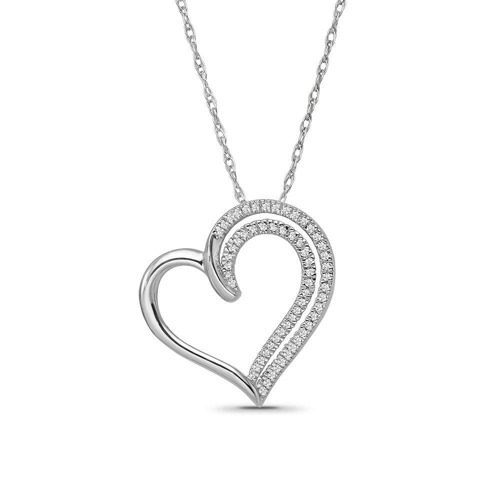 1/10 Carat Diamond Heart Pendant in Sterling Silver - 18