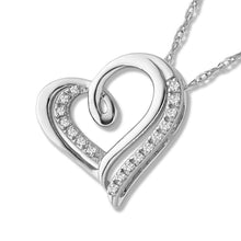 Load image into Gallery viewer, 0.08 Carat Diamond Heart Pendant in Sterling Silver -18""