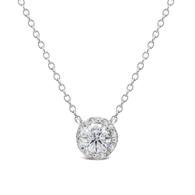 1.00 Carat White Sapphire & Diamond Halo Necklace in Sterling Silver - 18""