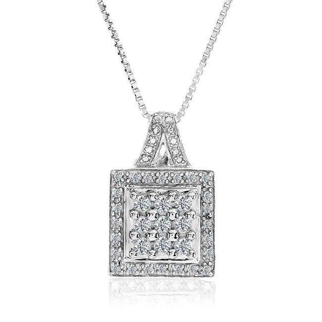 1/2 Carat Diamond Pendant in Sterling Silver with Chain