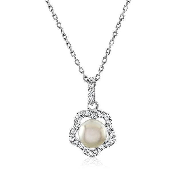Freshwater Pearl Necklace with CZ in Sterling Silver