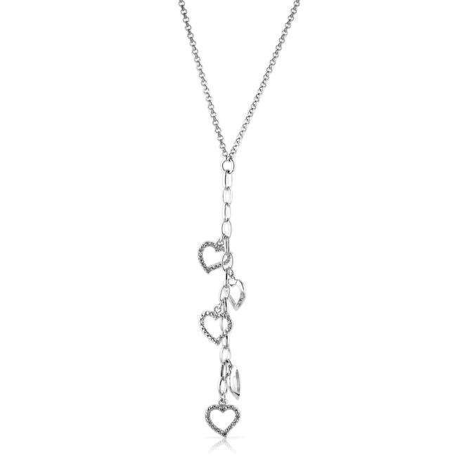 Diamond Accent Heart Drop Necklace in Sterling Silver 17""