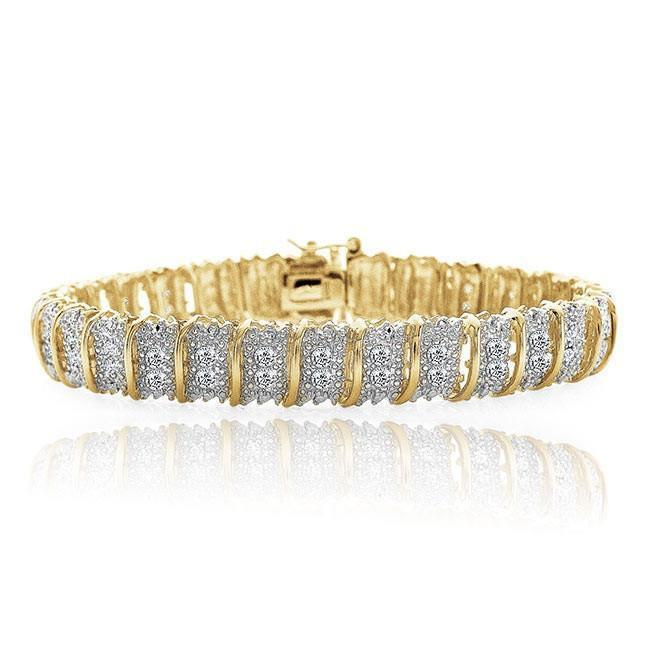 1.00 Carat Diamond Tennis Bracelet in 14K Yellow Gold/Sterling Silver - 7.25""