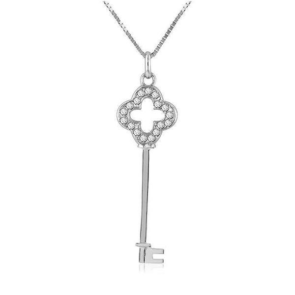 "Sterling Silver White Sapphire Quadrifoglio Key Pendant with 18"" chain"