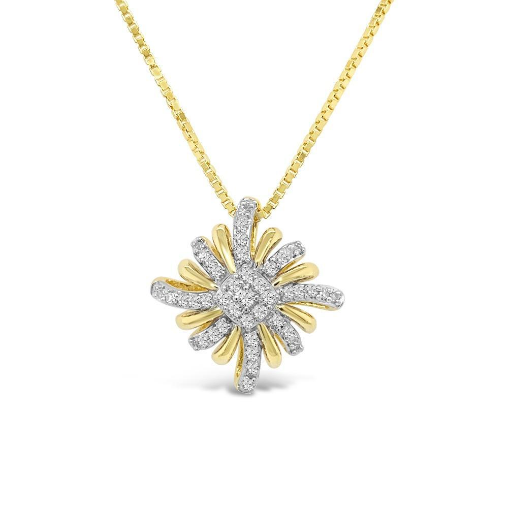 1/6 Carat Diamond Star Necklace in Yellow Gold/Sterling Silver - 18""