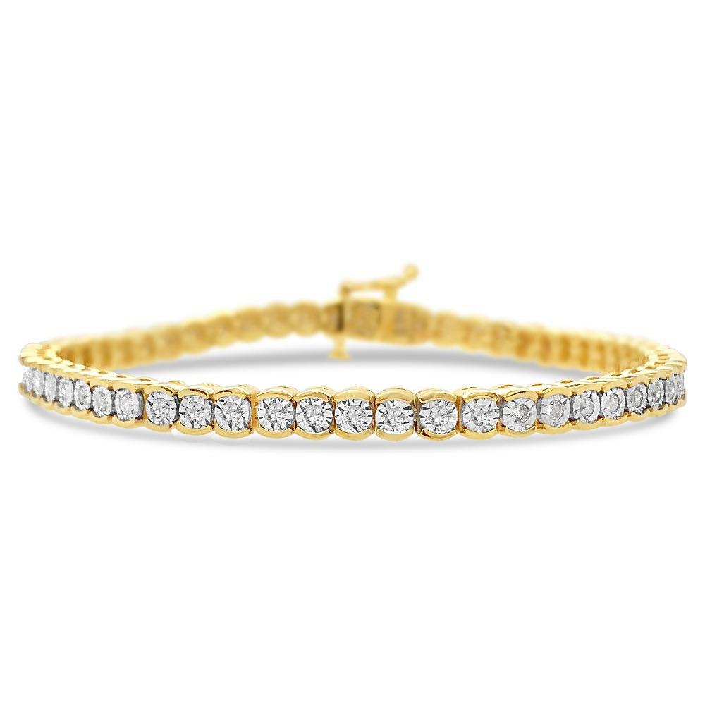 1.00 Carat Diamond Tennis Bracelet in 14K Yellow Gold/Sterling Silver - 7""
