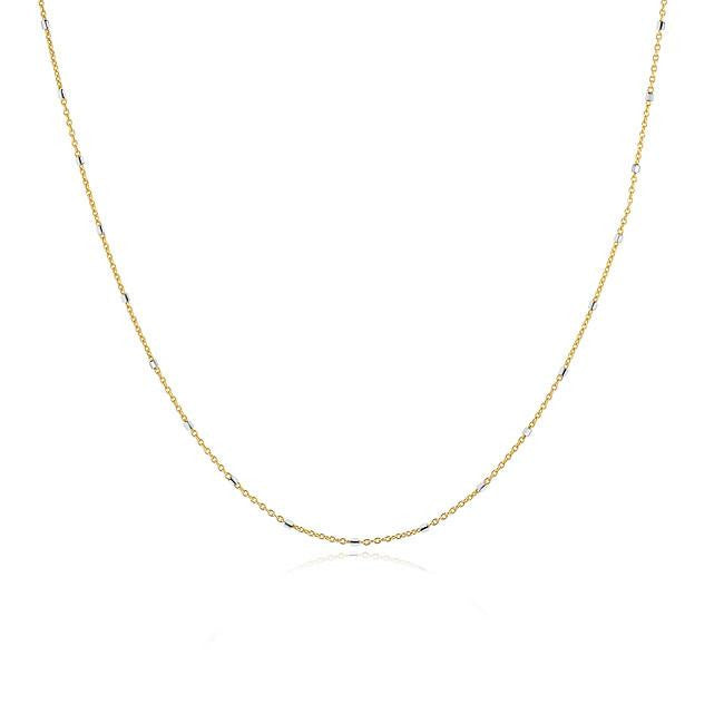 Mirror Link Necklace in Two-Tone 14K - 18""