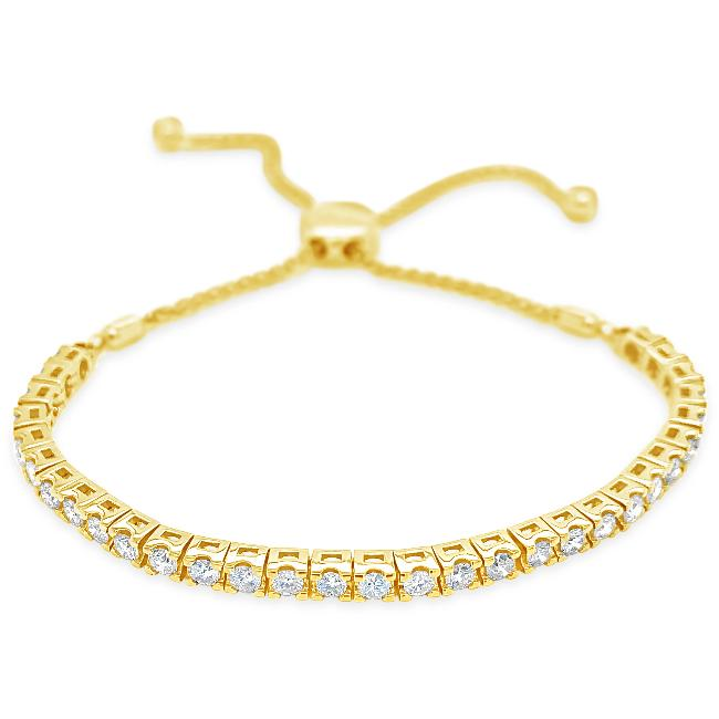 2.25 Carat Diamond Bolo Bracelet in 14K Yellow Gold