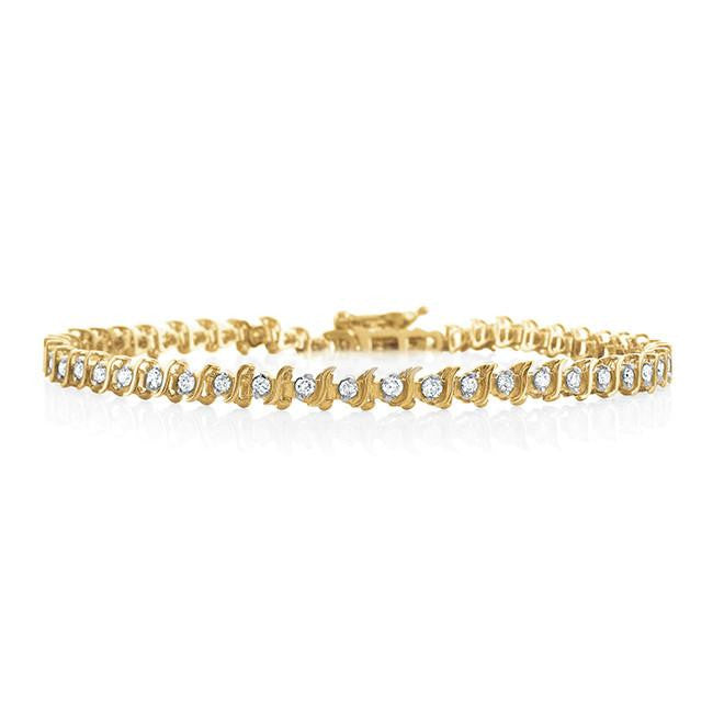 1.00 Carat Diamond S-Link Tennis Bracelet in 14k Yellow Gold (I1-I2/H-I) - 6.5""