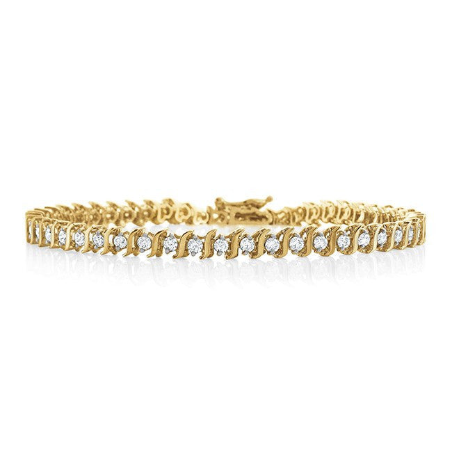 2.00 Carat Diamond S-Link Tennis Bracelet in 14k Yellow Gold (SI/G-H) - 7""