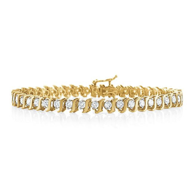 3.00 Carat Diamond S-Link Tennis Bracelet in 14k Yellow Gold (I2-I3/I-J)