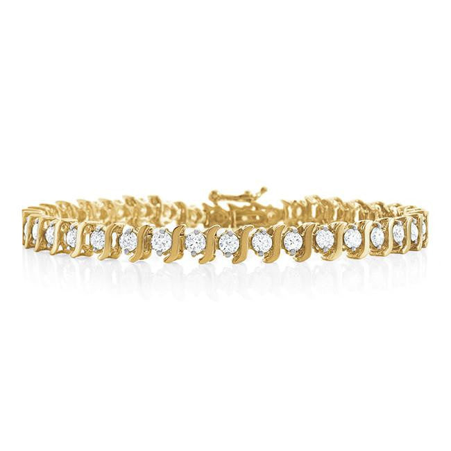 4.00 Carat Diamond S-Link Tennis Bracelet in 14K Yellow Gold (I2-I3/J-K) -  7""