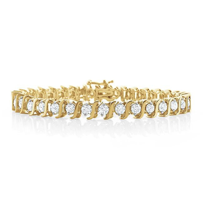 5.00 Carat Diamond S-Link Tennis Bracelet in 14k Yellow Gold (I2-I3/I-J) - 7""