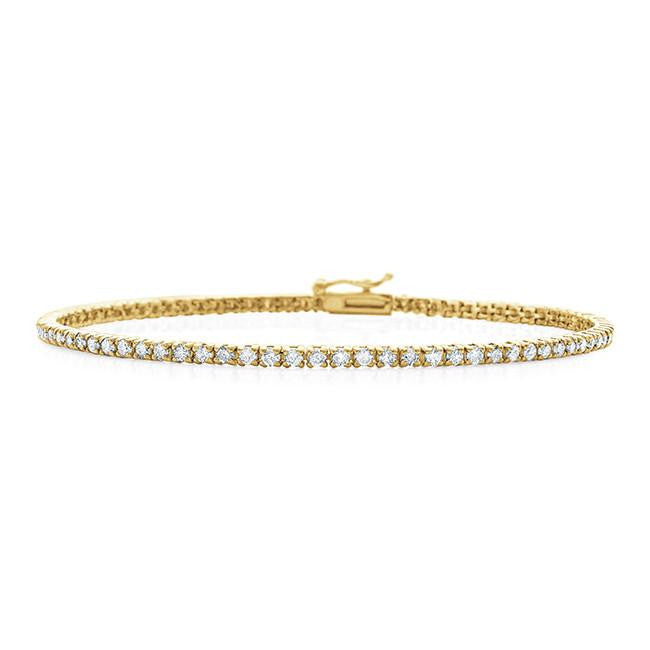 2.00 Carat Diamond Straight Link Tennis Bracelet in 14k Yellow Gold (I2-I3/I-J)