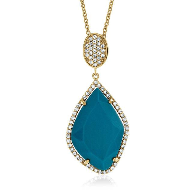 "Genuine Turquoise Fashion Pendant with 18"" Chain"