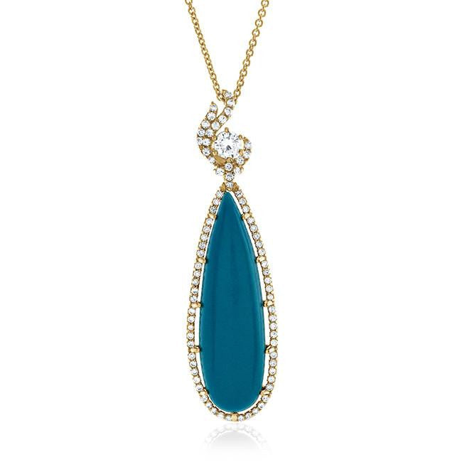 "Genuine Turquiose Teardrop Fashion Pendant with 18"" Chain"