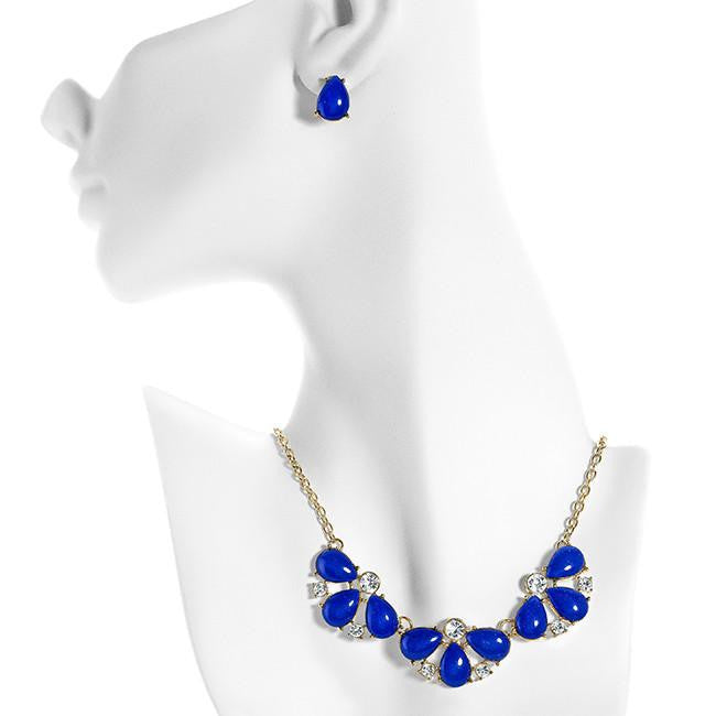 Colorful Fashion Necklace & Earring Set with Cubic Zirconia Accents - 16""