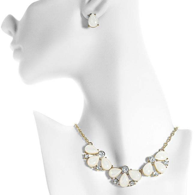 Fashion Necklace & Earring Set with Cubic Zirconia Accents - 16""
