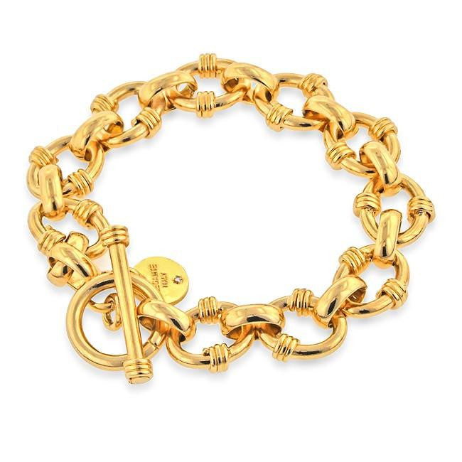Grazie Italiana Collection: Toggle Rolo-Link Bracelet in Gold Over Bronze - 7.5""
