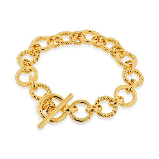 Grazie Italiana Collection: Gold-Plated Bronze Twisted and Polished Circle-Link Bracelet with Toggle Clasp - 7.5""