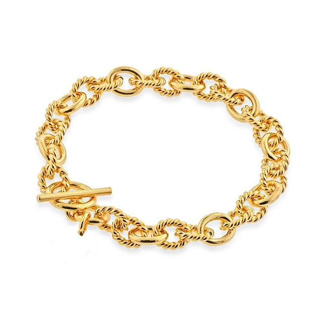 Grazie Italiana Collection: Gold-Plated Bronze Twisted and Polished Oval-Link Bracelet - 7.75""