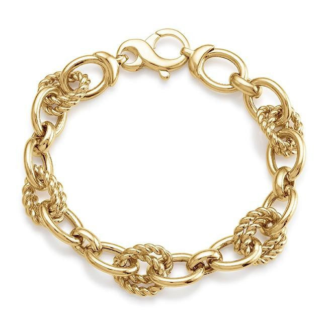 Grazie Italiana Collection: Gold-Plated Bronze Polished & Twisted Oval Link Bracelet - 8""