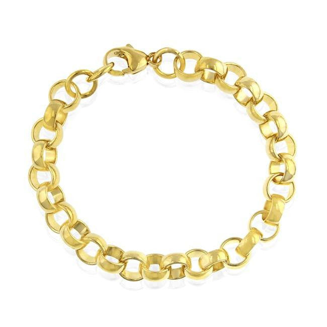 Grazie Italiana Collection: Gold-Plated Bronze 9mm Rolo-Link Bracelet - 7.75""