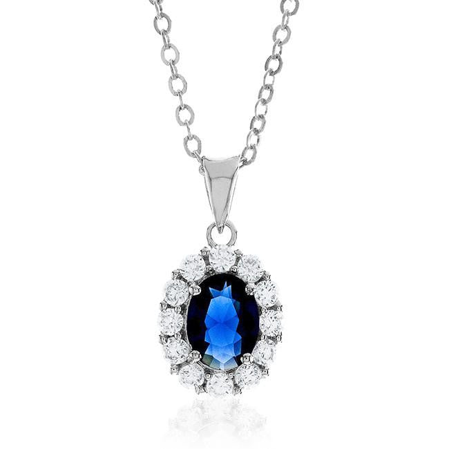 "Dark Blue & White Cubic Zirconia Fashion Pendant with 18"" Chain"
