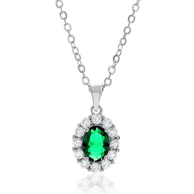 "Green & White Cubic Zirconia Fashion Pendant with 18"" Chain"
