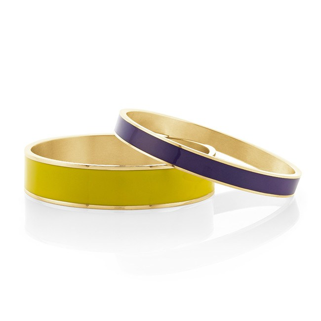 Yellow & Purple Enamel Fashion Bangle Set - 7.5""