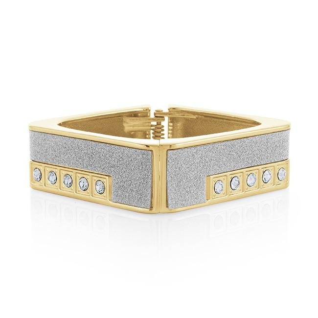 Yellow Gold-Plated Cubic Zirconia Fashion Bangle - 7""