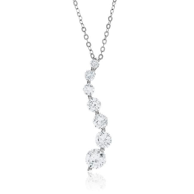 "3.00 Carat Cubic Zirconia Fashion Journey Pendant with 18"" Chain"