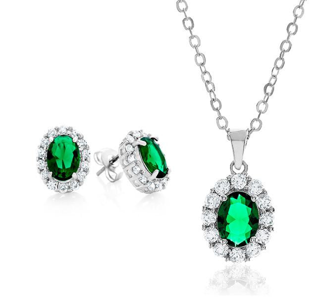 Green & White Cubic Zirconia Fashion Pendant & Earring Set