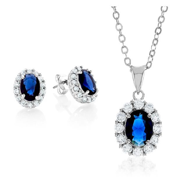 Dark Blue & White Cubic Zirconia Fashion Pendant & Earring Set